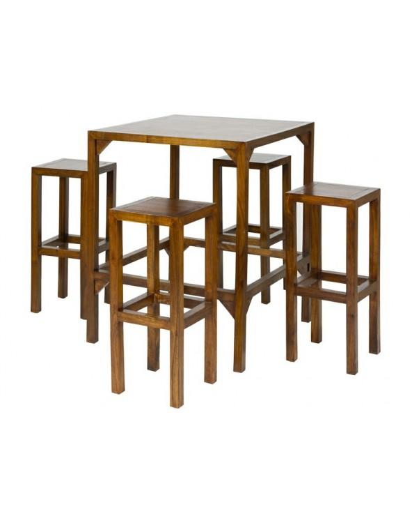 Mesa alta con 4 taburetes...