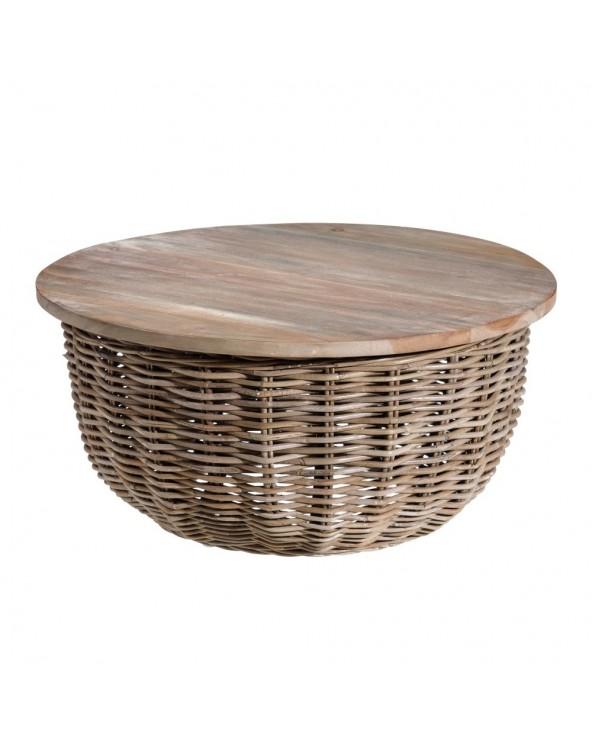 Mesa auxiliar rattán madera...