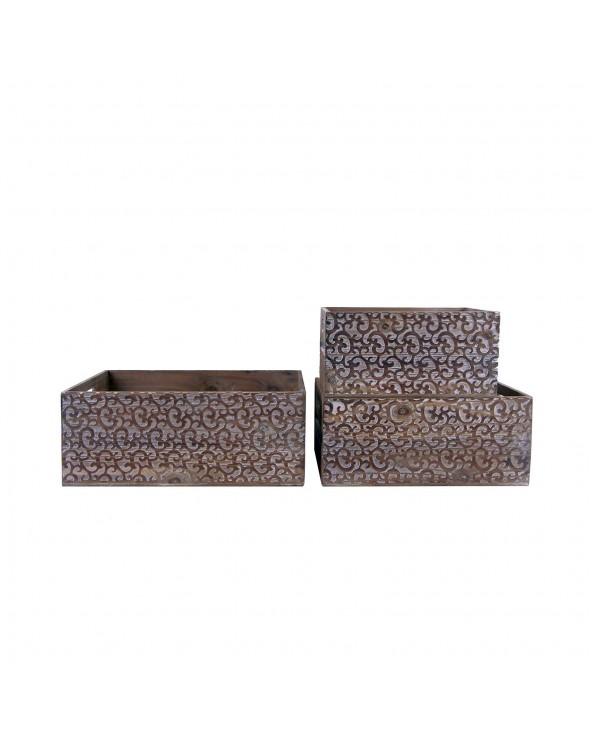 Set 3 cajas de madera Zan