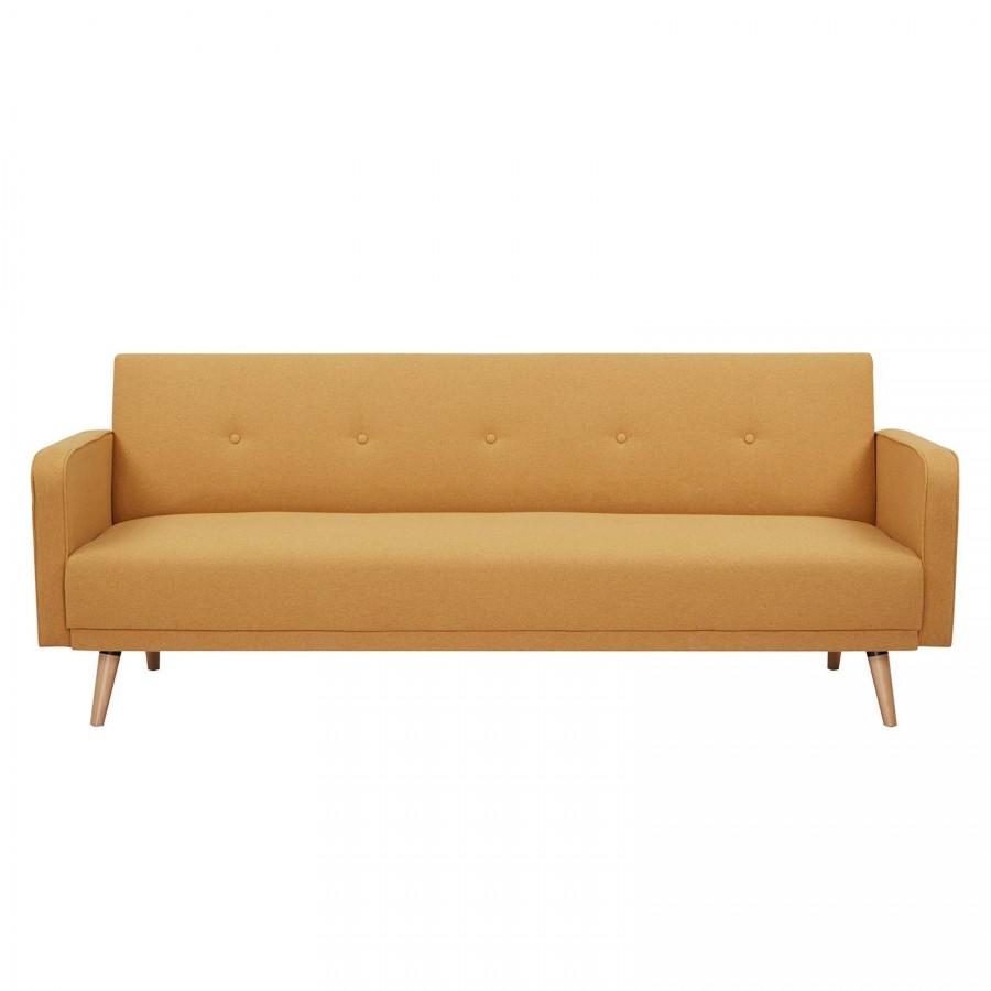 Sofá cama con brazos tapizado en mostaza 208x86x81cm Hamilgon