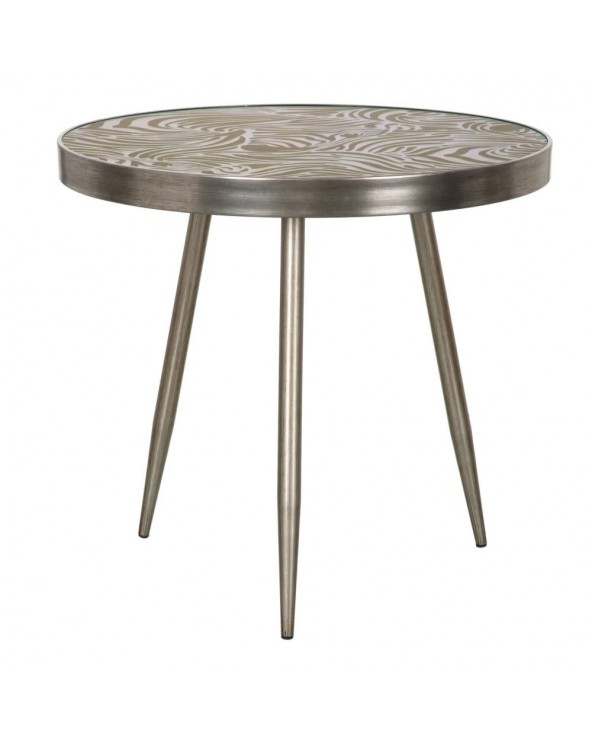 Mesa café metal plateado...