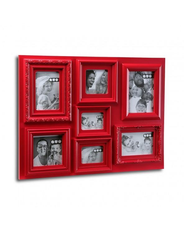 Portafotos 7 ventanas rojo...