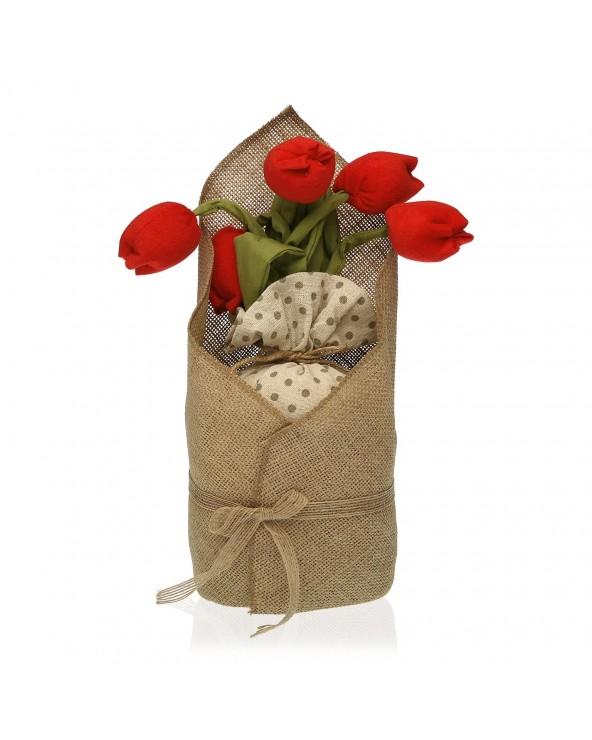 Sujeta puertas tulipán rojo...
