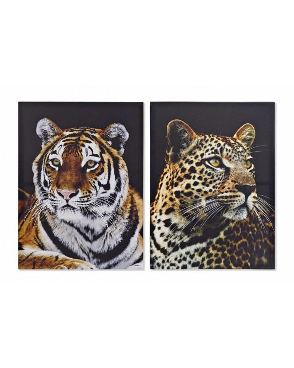 Set 2 cuadros lienzo tigre...