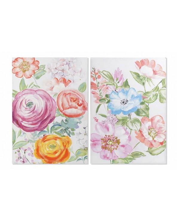 Set 2 cuadros canvas flores...