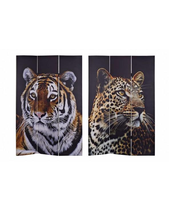 Set 2 biombos lienzo tigre...