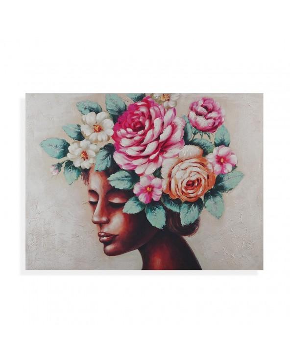 Cuadro mujer con flores...