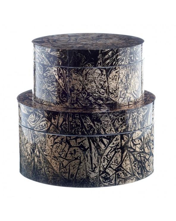 Set 2 cajas negro oro bambú...