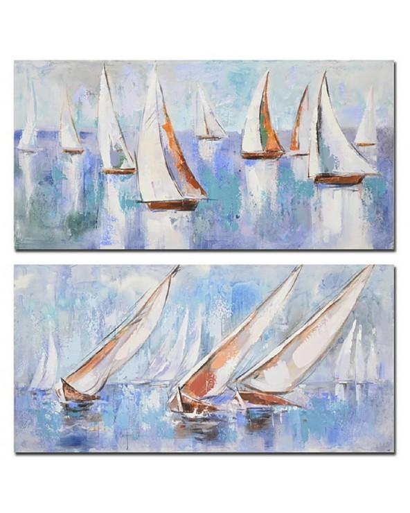 Set 2 cuadros lienzo barcos...