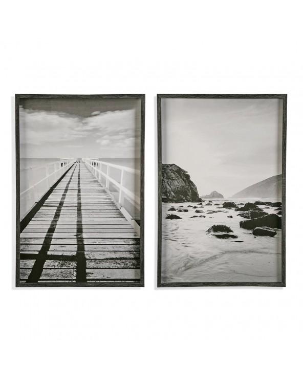 Set 2 cuadros madera puente...