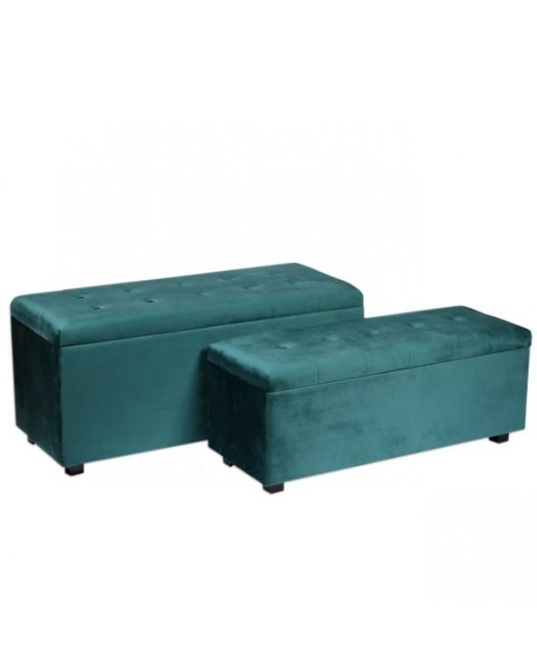 Set 2 pies de cama azul...