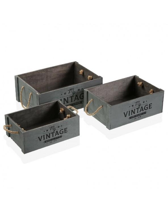 Set de 3 cajas de madera...