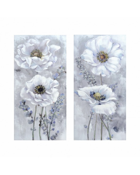 Pareja pinturas Flores Lux...